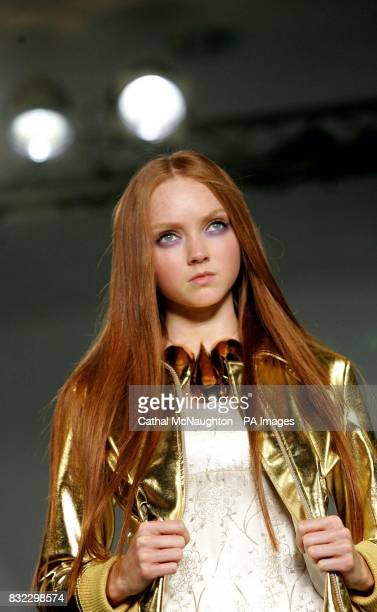 Lily Cole wears a design by Allegra Hicks during the London Fashion Week spring/summer 2007 collections at the Royal Horticultural Halls central...