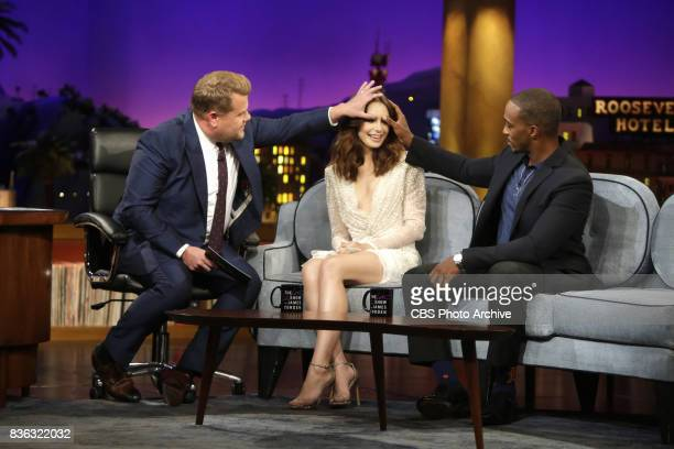 Lily Collins and Anthony Mackie chat with James Corden during 'The Late Late Show with James Corden' Monday August 7 2017 On The CBS Television...