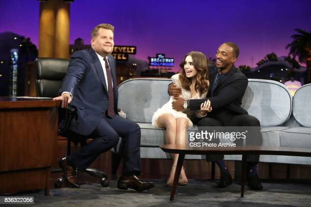 Lily Collins and Anthony Mackie chat with James Corden during The Late Late Show with James Corden Monday August 7 2017 On The CBS Television Network