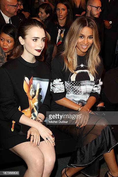 Lily Collins and Ciara Princess Harris attend the Givenchy show as part of the Paris Fashion Week Womenswear Spring/Summer 2014 on September 29 2013...
