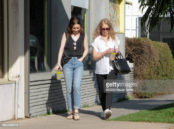Lily Collins and mother Jill Tavelman are seen on March 16, 2017 in Los Angeles, California.