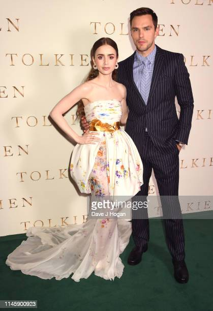 Lily Collins and Nicholas Hoult attend the Tolkien UK premiere at The Curzon Mayfair on April 29 2019 in London England