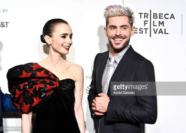 "Lily Collins and Zac Efron attend Netflix's ""Extremely Wicked, Shockingly Evil and Vile"" Tribeca Film Festival Premiere at BMCC Tribeca Performing..."