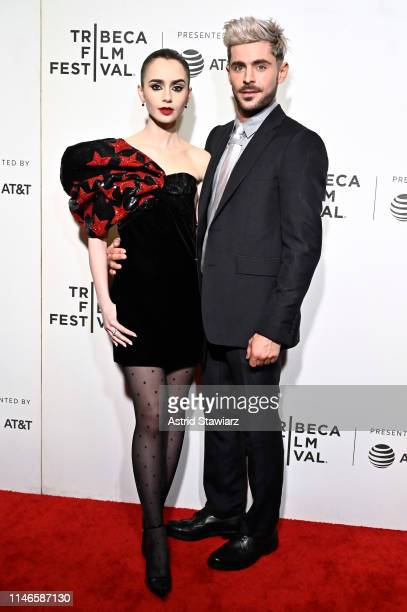 """Lily Collins and Zac Efron attend Netflix's """"Extremely Wicked, Shockingly Evil and Vile"""" Tribeca Film Festival Premiere at BMCC Tribeca Performing..."""