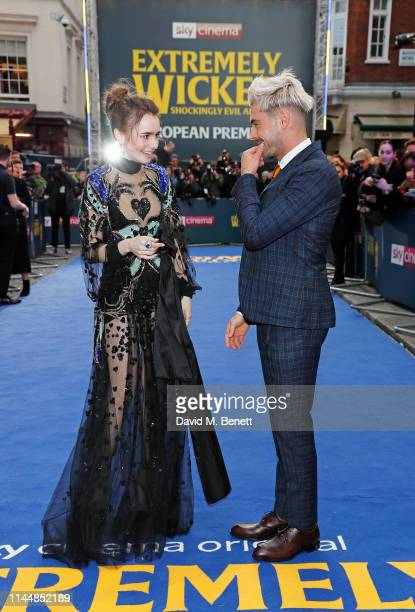 """Lily Collins and Zac Efron attend the European Premiere of """"Extremely Wicked, Shockingly Evil And Vile"""" at The Curzon Mayfair on April 24, 2019 in..."""
