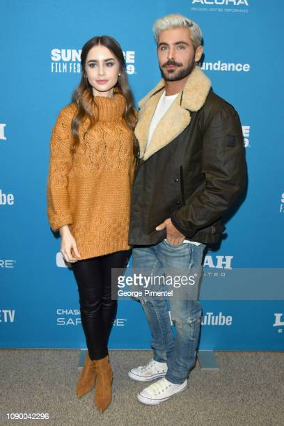 Lily Collins and Zac Efron attend the Extremely Wicked Shockingly Evil And Vile Premiere during the 2019 Sundance Film Festival at Eccles Center...