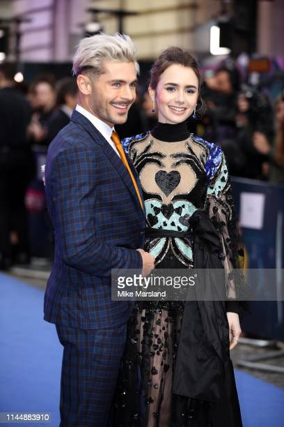 """Lily Collins and Zac Efron attend the """"Extremely Wicked, Shockingly Evil and Vile"""" European premiere at The Curzon Mayfair on April 24, 2019 in..."""