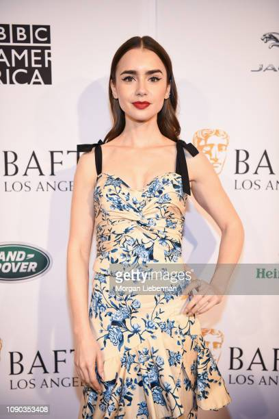 Lily Collins arrives at the BAFTA Los Angeles Tea Party at the Four Seasons Hotel Los Angeles in Beverly Hills on January 05 2019 in Los Angeles...