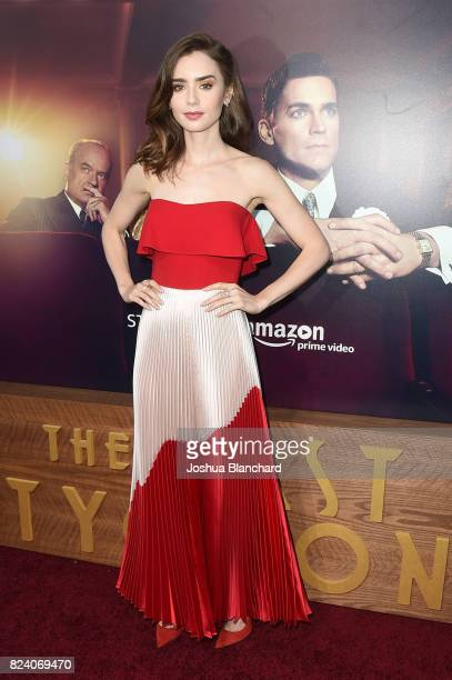 Lily Collins arrives at the Premiere Of Amazon Studios' The Last Tycoon at the Harmony Gold Preview House and Theater on July 27 2017 in Hollywood...