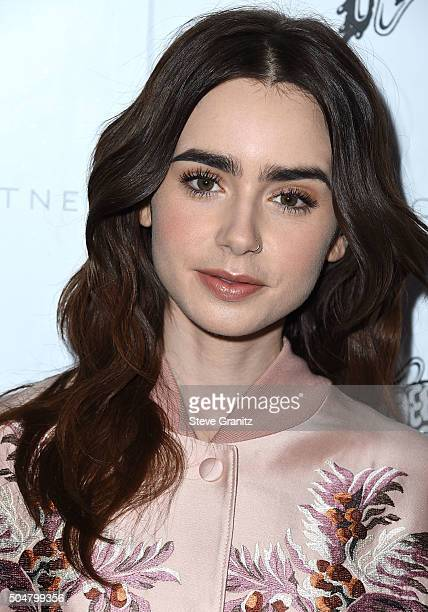 Lily Collins arrives at the Stella McCartney Autumn 2016 Presentation on January 12 2016 in Hollywood California