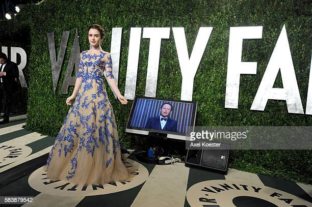 Lily Collins arrives to the Vanity Fair after party of the 84th Academy Awards hosted by Graydon Carter at the Sunset Tower Hotel Sunday evening