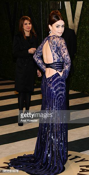Lily Collins arrives to the Vanity Fair after party of the 85th Academy Awards hosted by Graydon Carter at the Sunset Tower Hotel Sunday evening