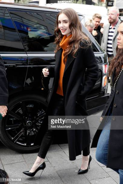 Lily Collins at Capital Breakfast Radio promoting new movie 'Tolkien' on April 29 2019 in London England