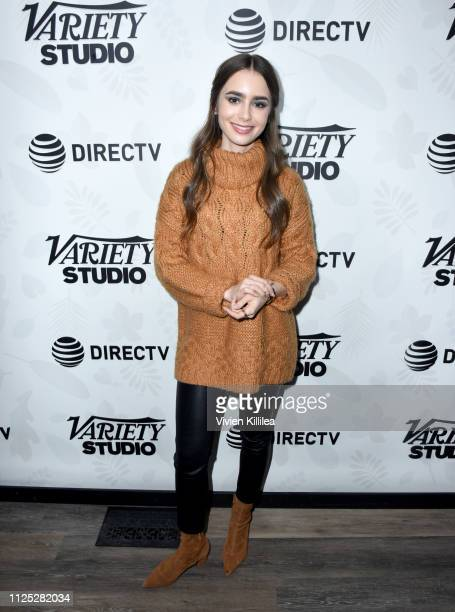 """Lily Collins at the """"Extremely Wicked Shockingly Evil and Vile"""" party at DIRECTV Lodge presented by ATT at Sundance Film Festival 2019 on January 26..."""