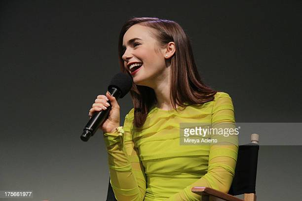 Lily Collins attends Apple Store Soho Presents Meet The Actor The Mortal Instruments City of Bones at Apple Store Soho on August 5 2013 in New York...