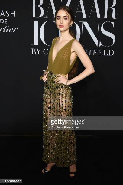 Lily Collins attends as Harper's BAZAAR celebrates ICONS By Carine Roitfeld at The Plaza Hotel presented by Cartier Arrivals on September 06 2019 in...