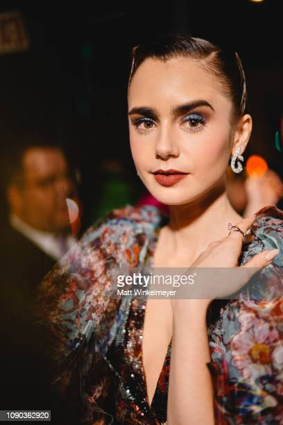 Lily Collins attends Michael Muller's HEAVEN presented by The Art of Elysium on January 05 2019 in Los Angeles California