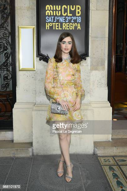 Lily Collins attends Miu Miu 2019 Cruise Collection Show at Hotel Regina on June 30 2018 in Paris France