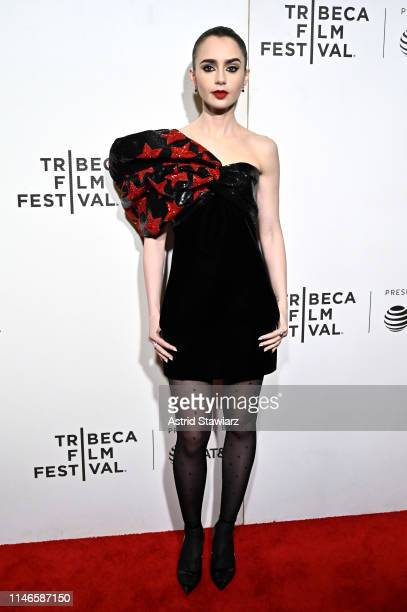 Lily Collins attends Netflix's Extremely Wicked Shockingly Evil and Vile Tribeca Film Festival Premiere at BMCC Tribeca Performing Arts Center on May...