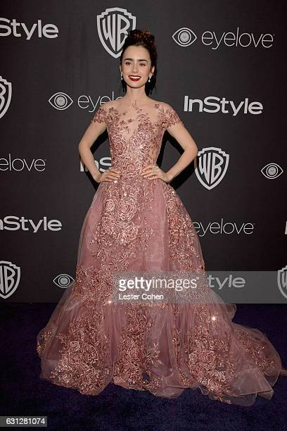 Lily Collins attends the 18th Annual PostGolden Globes Party hosted by Warner Bros Pictures and InStyle at The Beverly Hilton Hotel on January 8 2017...