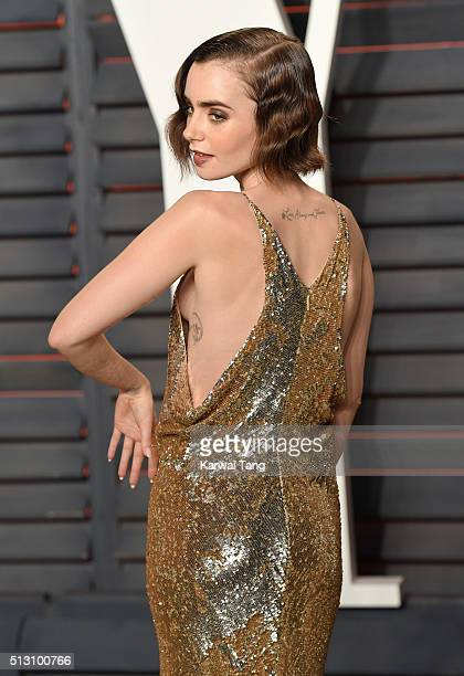 Lily Collins attends the 2016 Vanity Fair Oscar Party Hosted By Graydon Carter at Wallis Annenberg Center for the Performing Arts on February 28,...