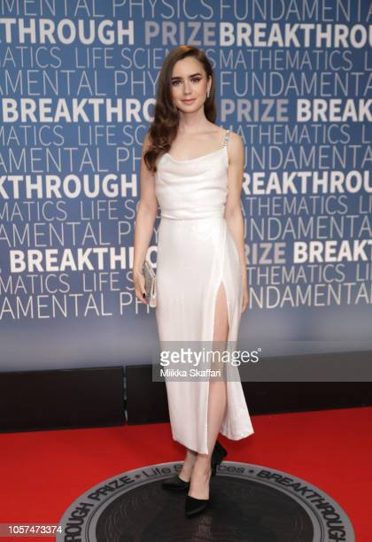 Lily Collins attends the 2019 Breakthrough Prize at NASA Ames Research Center on November 4 2018 in Mountain View California