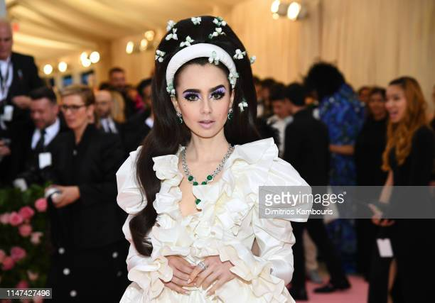 Lily Collins attends The 2019 Met Gala Celebrating Camp Notes on Fashion at Metropolitan Museum of Art on May 06 2019 in New York City