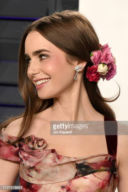 Lily Collins attends the 2019 Vanity Fair Oscar Party hosted by Radhika Jones at Wallis Annenberg Center for the Performing Arts on February 24 2019...