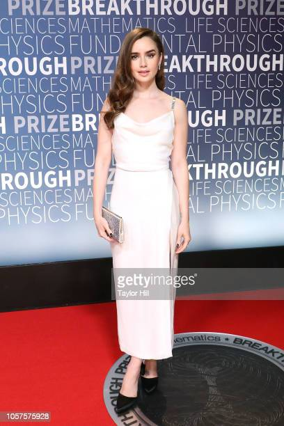 Lily Collins attends the 7th Annual Breakthrough Prize Ceremony at NASA Ames Research Center on November 4 2018 in Mountain View California