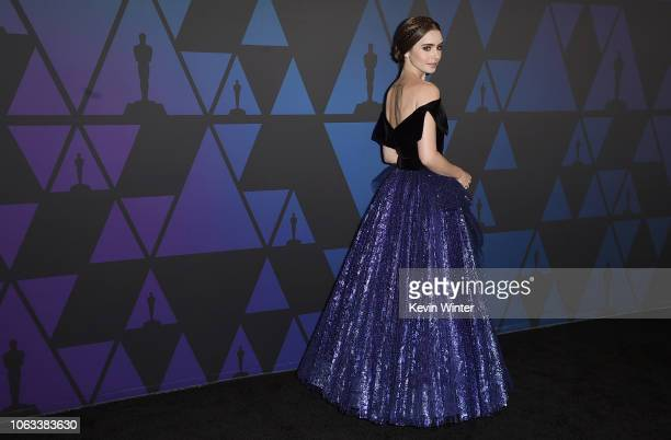 Lily Collins attends the Academy of Motion Picture Arts and Sciences' 10th annual Governors Awards at The Ray Dolby Ballroom at Hollywood & Highland...