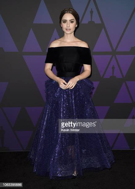 Lily Collins attends the Academy of Motion Picture Arts and Sciences' 10th annual Governors Awards at The Ray Dolby Ballroom at Hollywood Highland...