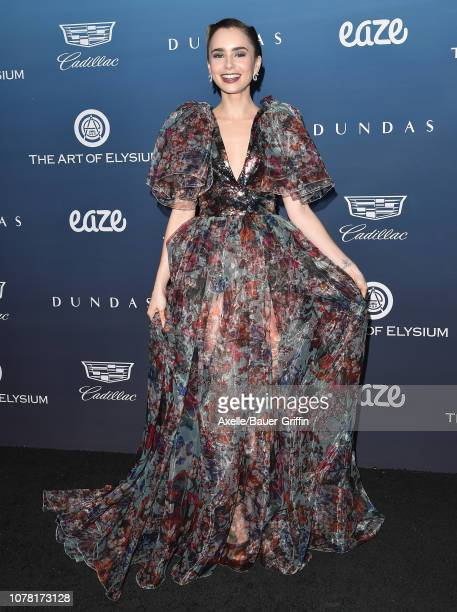 Lily Collins attends The Art of Elysium's 12th Annual Celebration Heaven on January 5 2019 in Los Angeles California