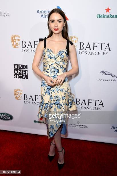 Lily Collins attends the BBCA BAFTA Tea Party at Four Seasons Hotel Los Angeles at Beverly Hills on January 5 2019 in Los Angeles California
