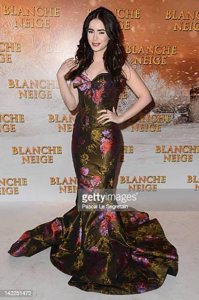 Lily Collins attends the 'Blanche Neige' Paris Premiere at Gaumont Capucines on April 1 2012 in Paris France