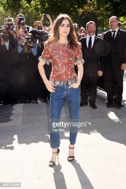 Lily Collins attends the Chanel Haute Couture Fall/Winter 20172018 show as part of Paris Fashion Week on July 4 2017 in Paris France