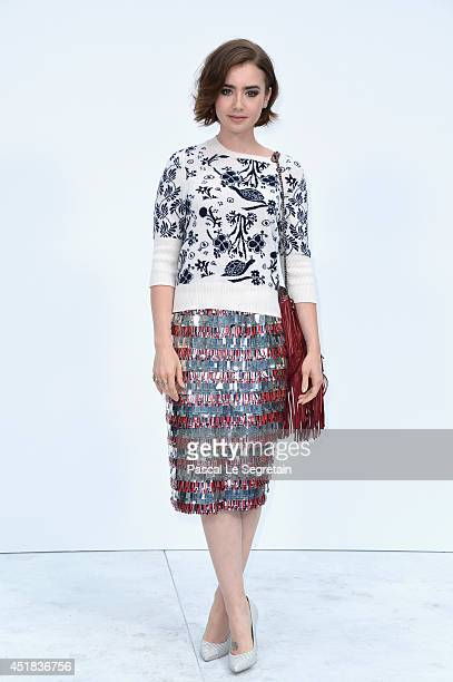Lily Collins attends the Chanel show as part of Paris Fashion Week Haute Couture Fall/Winter 20142015 at Grand Palais on July 8 2014 in Paris France