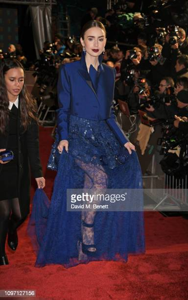 Lily Collins attends the EE British Academy Film Awards at Royal Albert Hall on February 10, 2019 in London, England.