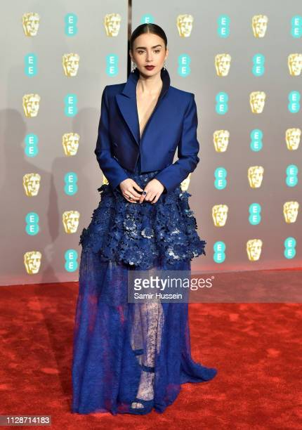 Lily Collins attends the EE British Academy Film Awards at the Royal Albert Hall on February 10 2019 in London England