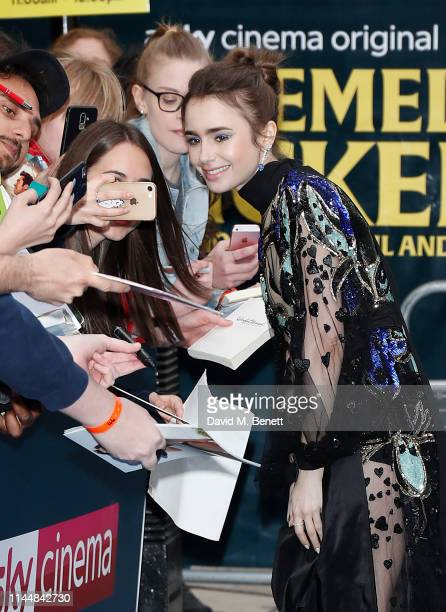 """Lily Collins attends the European Premiere of """"Extremely Wicked, Shockingly Evil And Vile"""" at The Curzon Mayfair on April 24, 2019 in London, England."""
