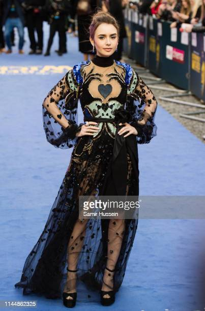 """Lily Collins attends the """"Extremely Wicked, Shockingly Evil and Vile"""" European premiere at The Curzon Mayfair on April 24, 2019 in London, England."""