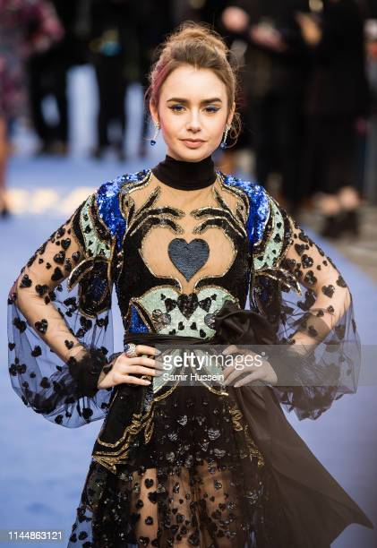 Lily Collins attends the Extremely Wicked Shockingly Evil and Vile European premiere at The Curzon Mayfair on April 24 2019 in London England