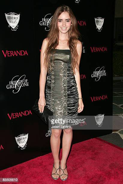 Lily Collins attends The Great House grand opening at the Greystone Estate on October 30 2008 in Beverly Hills California