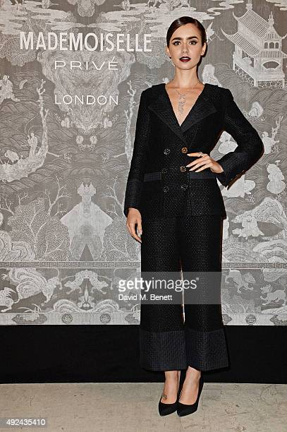 Lily Collins attends the Mademoiselle Prive Exhibition at the Saatchi Gallery on October 12 2015 in London England