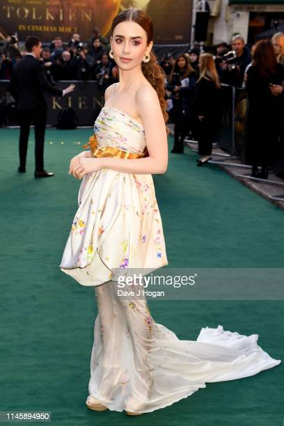 Lily Collins attends the Tolkien UK premiere at The Curzon Mayfair on April 29 2019 in London England