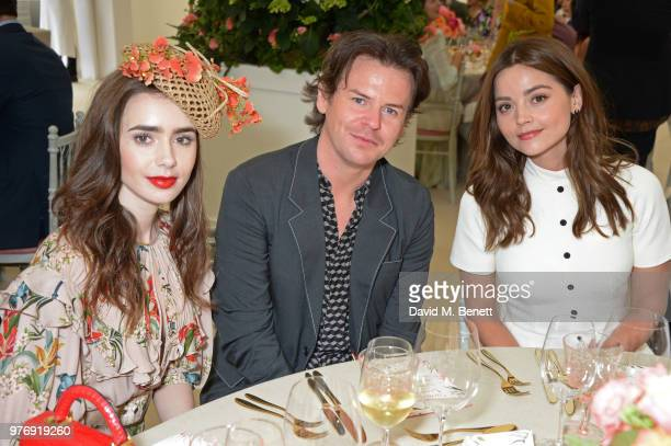 Lily Collins Christopher Kane and Jenna Coleman attend the Cartier Queen's Cup Polo Final at Guards Polo Club on June 17 2018 in Egham England