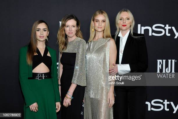 Lily Collins Clare Waight Keller Rosie HuntingtonWhiteley and InStyle Magazine Editor in Chief Laura Brown attend the 2018 InStyle Awards with Fiji...