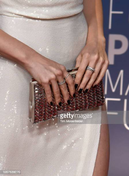 Lily Collins fashion detail attends the 2019 Breakthrough Prize at NASA Ames Research Center on November 4 2018 in Mountain View California