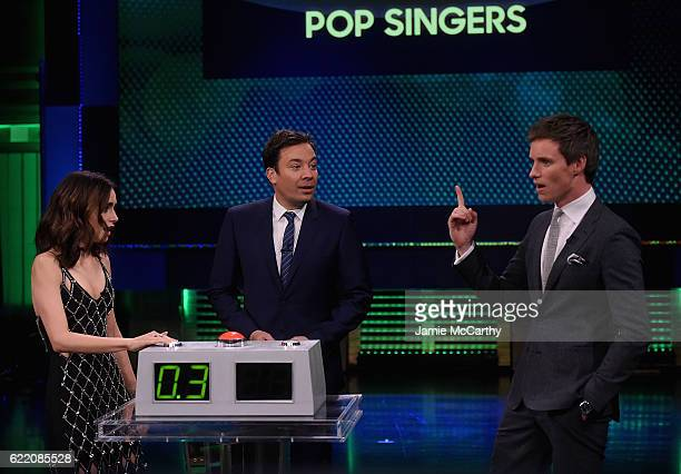 Lily Collins host Jimmy Fallon and Eddie Redmayne during a segment on The Tonight Show Starring Jimmy Fallon at Rockefeller Center on November 9 2016...