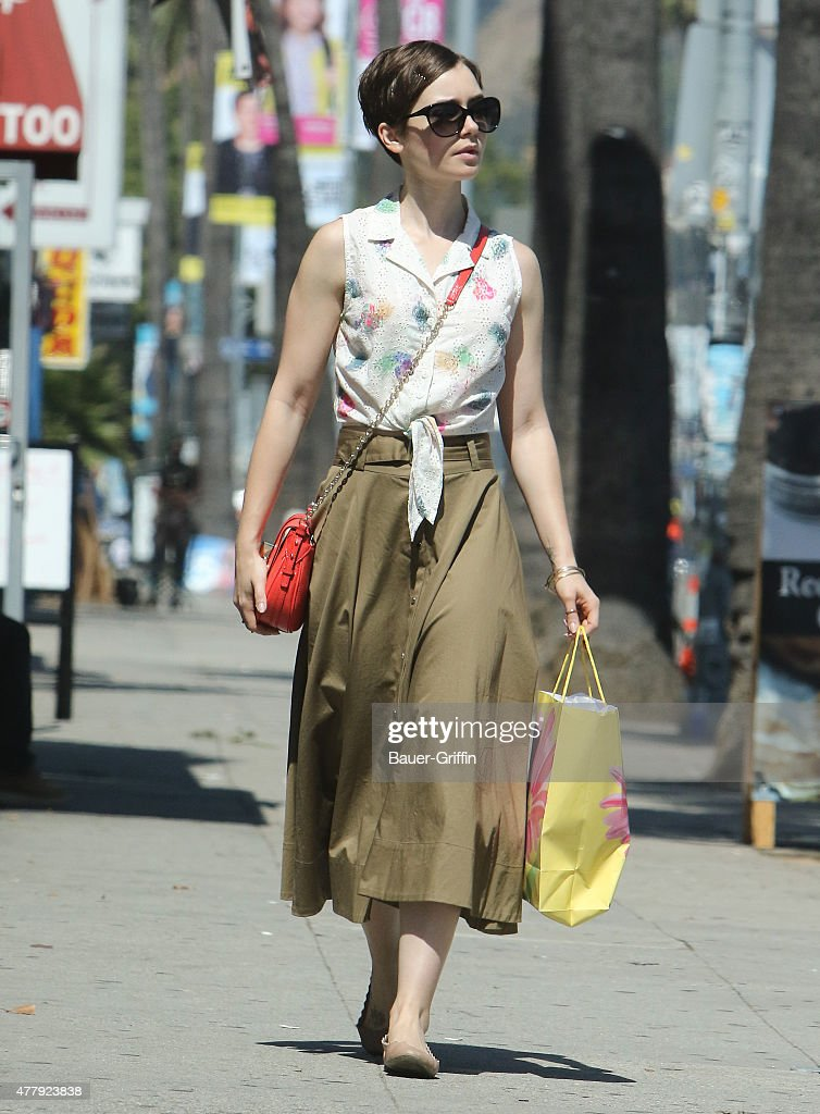 Lily Collins is seen out shopping on June 20, 2015 in Los Angeles, California.