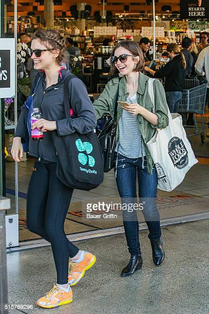 Lily Collins is seen shopping at Erewhon on March 15 2016 in Los Angeles California